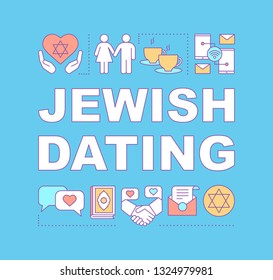 Jewish dating word concepts banner. Date by religion. Judaism religious, cultural matchmaking. Presentation, website. Isolated lettering typography idea with linear icons. Vector outline illustration