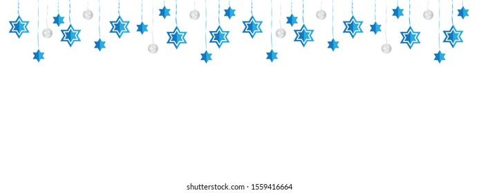 Jewish Hanging Star of David Blue White Banner Background