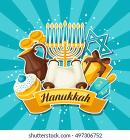 Jewish Hanukkah celebration card with holiday sticker objects.