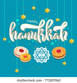 Jewish Hanukkah celebration template with David stars and donuts. Holiday template set for cards, banners, background. Calligraphy design style, lettering. Hanukkah typography design.