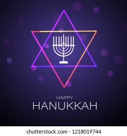 Jewish Holiday celebration greeting card design with traditional menorah (Candelabrum) and holy david star illustration on purple background.