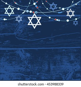 Jewish holiday greeting card background with jewish stars, vector illustration background