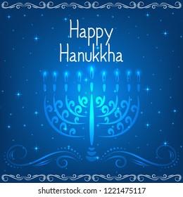 Jewish holiday Hanukkah background,  menorah with burning candles. Vector Illustration.