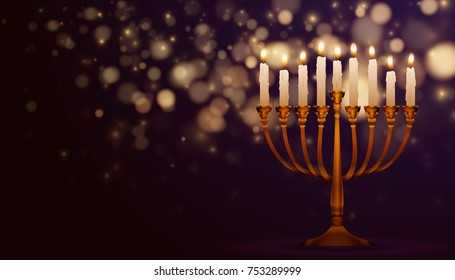 Jewish holiday Hanukkah background, realistic menorah (traditional candelabra), burning candles, bokeh effect. Religious holiday art, Happy Hanukkah Vector illustration.
