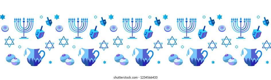 Jewish holiday Hanukkah Border traditional Chanukah symbols wooden dreidel spinning top, Hebrew letters, donuts, menorah candles, oil jar, Isreal flag star David glowing lights pattern Vector template