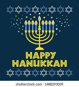 Jewish holiday Hanukkah greeting card traditional Chanukah symbols - menorah candles, star David illustration on blue.