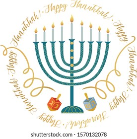 Jewish holiday Hanukkah  greeting card . Vector illustration with  menorah and  Hanukkah dreidels.