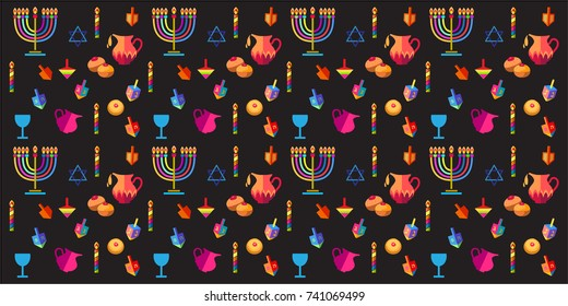 Jewish holiday Hanukkah greeting card background with traditional Chanukah symbols - wooden dreidels (spinning top), donuts, menorah, candles, star of David, lights, wallpaper pattern. Vector template