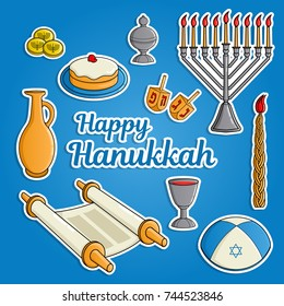 Jewish holiday Hanukkah greeting card. Traditional menora, candle, cup of wine, hat, jug of oil, dreidel with Hebrew letters, Torah scroll, incense box. Vector illustration.