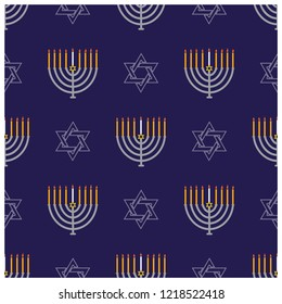 Jewish holiday Hanukkah seamless pattern with Hanukkah menorah, dreidels, star of David and donuts.Vector background for wallpaper, greeting card  and graphic design. Hebrew text - Happy Hanukkah