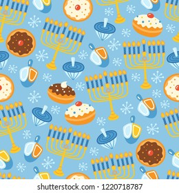 Jewish holiday Hanukkah seamless pattern background. Vector illustration