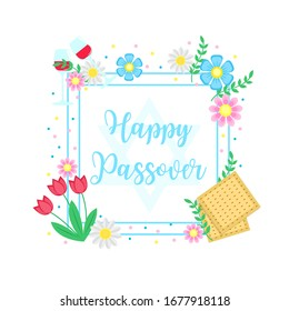 Jewish holiday Passover banner design with with floral decoration, matzo. vector illustration