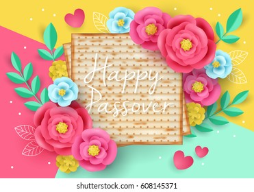 Jewish holiday Passover modern banner design with matzo and paper art flowers. Realistic vector illustration