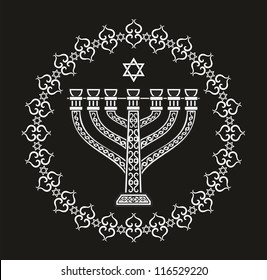 Jewish holiday religious vector background with old menorah