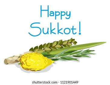 Jewish holiday Sukkot. Etrog, lulav, hadas, arava. Illustration.
