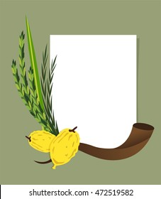 Jewish holiday Sukkot. Lulav ,Etrog, Arava and Hadas. Four species symbols date palm, citron, willow, myrtle