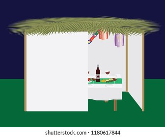 Jewish holiday traditional Sukkah and dinner table