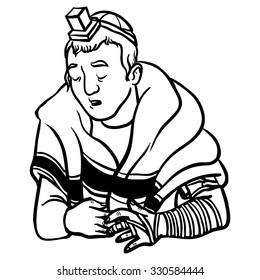 jewish man praying and put on tfilin. vector illustration