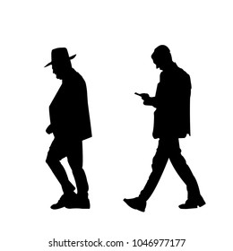Jewish men. Silhouette. Vector illustration of isolated background. Orthodox. The man in the hat. The man in the kep.