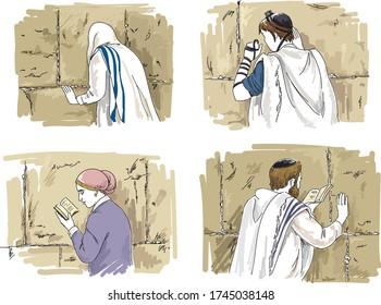 Jewish men and woman praying at the sacred Wailing Wall, Western Wall. Jerusalem. Israel