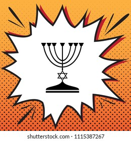 Jewish Menorah candlestick in black silhouette. Vector. Comics style icon on pop-art background.