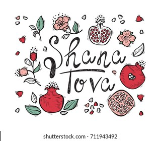 Jewish New Year Holiday. Concept of Happy Shana Tova. Rosh Hashanah Greeting Card. Hand Drawn Shana Tova Lettering and Doodle Fruits. Pomegranate Fruit, Flowers, Leaves. Vector Festive Background