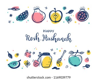 Jewish New Year Holiday. Happy Shana Tova. Rosh Hashanah Vector Greeting Card. Hand Drawn Lettering and Doodle Fruits. Pomegranate Fruit, Apples, Honey Jar, Flowers and Leaves