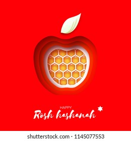 Jewish New Year, Rosh Hashanah. Apple shape with honey gold cell in paper cut style. Origami happy holiday in Hebrew. Red background.