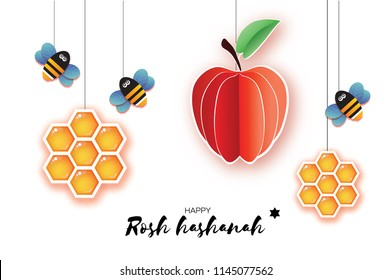 Jewish New Year, Rosh Hashanah Greeting card. Origami Apple with Honey gold cell and Honey Bee in paper cut style. Happy holiday in Hebrew. White background.