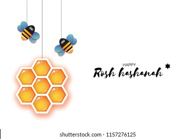 Jewish New Year Rosh Hashanah Greeting Card Origami Hexagon Honey Gold Cell And