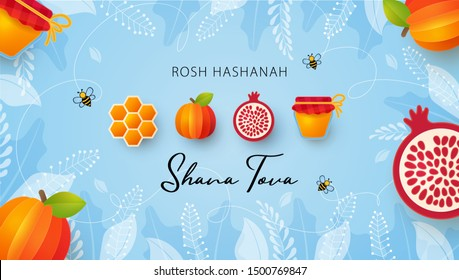 Jewish New Year, Rosh Hashanah Greeting card. Vector illustration with Apple, pomegranate, Honey gold cell, jar of honey and Honey Bee in paper cut style. Holiday banner. Light blue background.