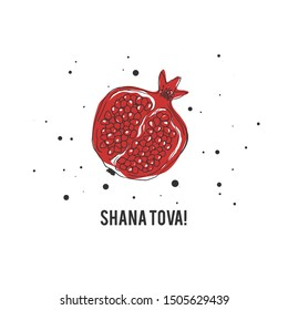 """Jewish new year (Rosh Hashanah) postcard or invitation template with hand drawn pomegranate and greeting message """"shana tova""""; minimalist design in red, white, black; square composition; vector"""