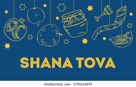 Jewish new year Rosh Hashanah design template with traditional objects hanging on the top of the page. Title in Hebrew Have a good year. Hand drawn vector sketch illustration