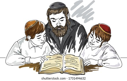 Jewish orthodox children study. Vector illustration.