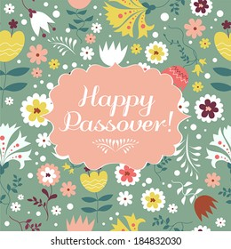 Jewish passover holiday greeting card design. Vector illustration