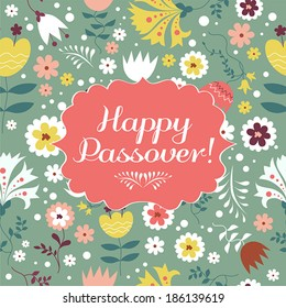 Jewish passover holiday greeting card design. Vector illustration with text - Happy Passover