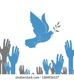 Jewish religious bird. Blue dove carrying olive branch in beak. Hanukkah festive symbol.International peace concept. Freedom symbol vector illustration