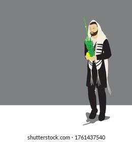 A Jewish religious orthodox man. chassid. holding Arbaat Haminim (the four species) of Sukkot: lulav, etrog, myrtle, willow. Wrapped in a talit, Vector illustration