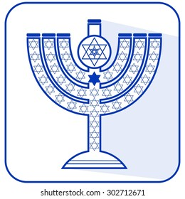 Jewish seven-branched candelabrum menorah with the Star of David, flat design vector illustration in israel national colors blue and white, vector candlestick,  High holy days,  Yamim Noraim