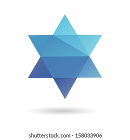 Jewish star abstract isolated on a white backgrounds, vector illustration