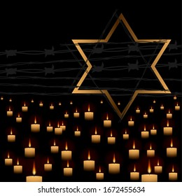 Jewish star with barbed wire and candles, International Holocaust Remembrance Day poster, January 27. World War II Remembrance Day.Yellow Star of David used Ghetto and Concentration Camps. Vector