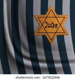 Jewish star stripe on prisoner robe, International Holocaust Remembrance Day poster, January 27. World War II Remembrance Day.Yellow Star of David used Ghetto and Concentration Camps. Vector
