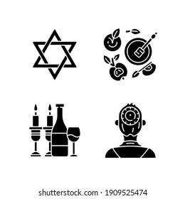 Jewish symbolism black glyph icons set on white space. David star. Apples and honey pot. Kosher wine. Kippah, yarmulke. Six-pointed geometric star. Silhouette symbols. Vector isolated illustration