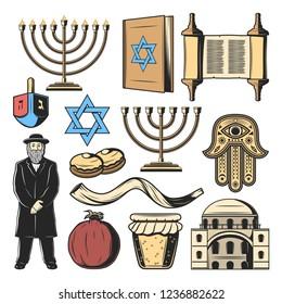 Jewish symbols and Judaism religion and culture items. Vector Hanukkah menorah Hanukiyot lampstand, David Star and Torah scroll, Jew rabbi priest with Hamsa hand amulet, Shofar horn and dreidel