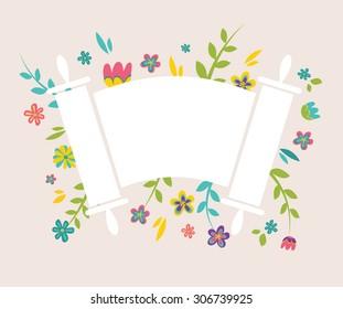Jewish Torah surrounding with fresh vintage flowers