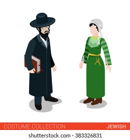 Jewish traditional hasid rabbi rabbin national couple. Flat 3d isometric web site vector illustration. People in traditional costume collection.