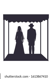 Jewish wedding ceremony. Vector illustration, silhouette of an ultra-Orthodox groom and Jewish bride under the canopy