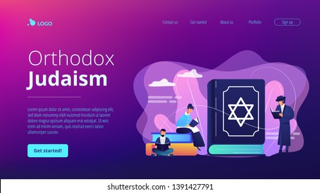 Jews in national costumes reading about religion, Torah, tiny people. Torah Judaism holy book, Jewish Beliefs on Jesus, orthodox Judaism concept. Website homepage landing web page template.