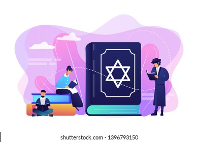 Jews in national costumes reading about religion, Torah, tiny people. Torah Judaism holy book, Jewish Beliefs on Jesus, orthodox Judaism concept. Bright vibrant violet vector isolated illustration