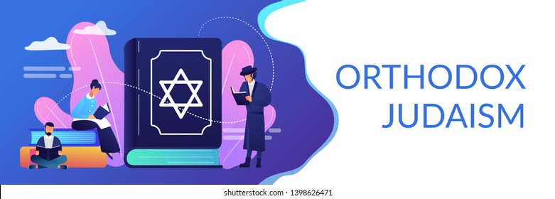 Jews in national costumes reading about religion, Torah, tiny people. Torah Judaism holy book, Jewish Beliefs on Jesus, orthodox Judaism concept. Header or footer banner template with copy space.